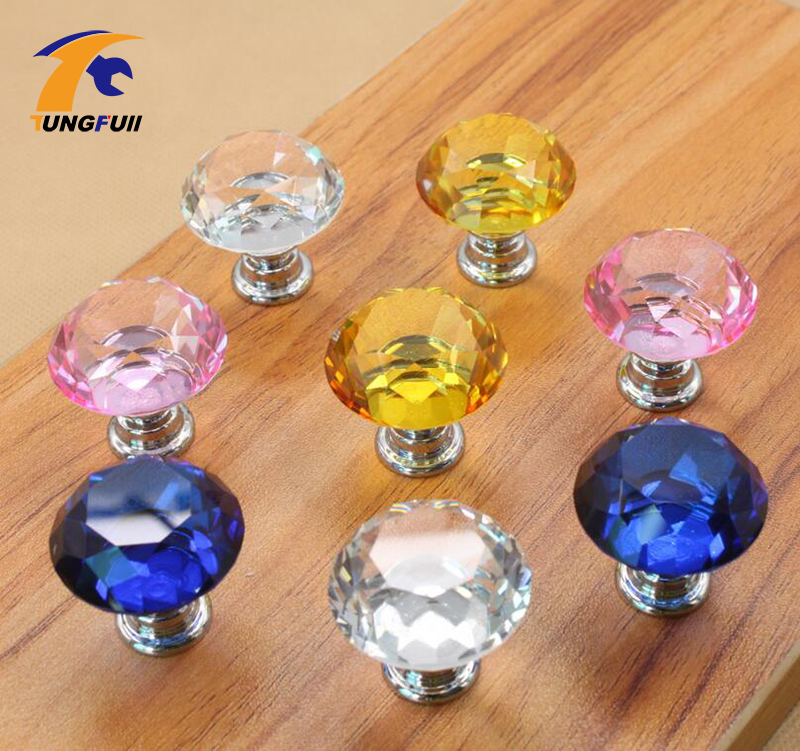 Frast shipping New Hot selling 10pcs 40mm Pink Diamond Shape Crystal Cabinet Knob Cupboard Drawer Pull Handle TH-1010