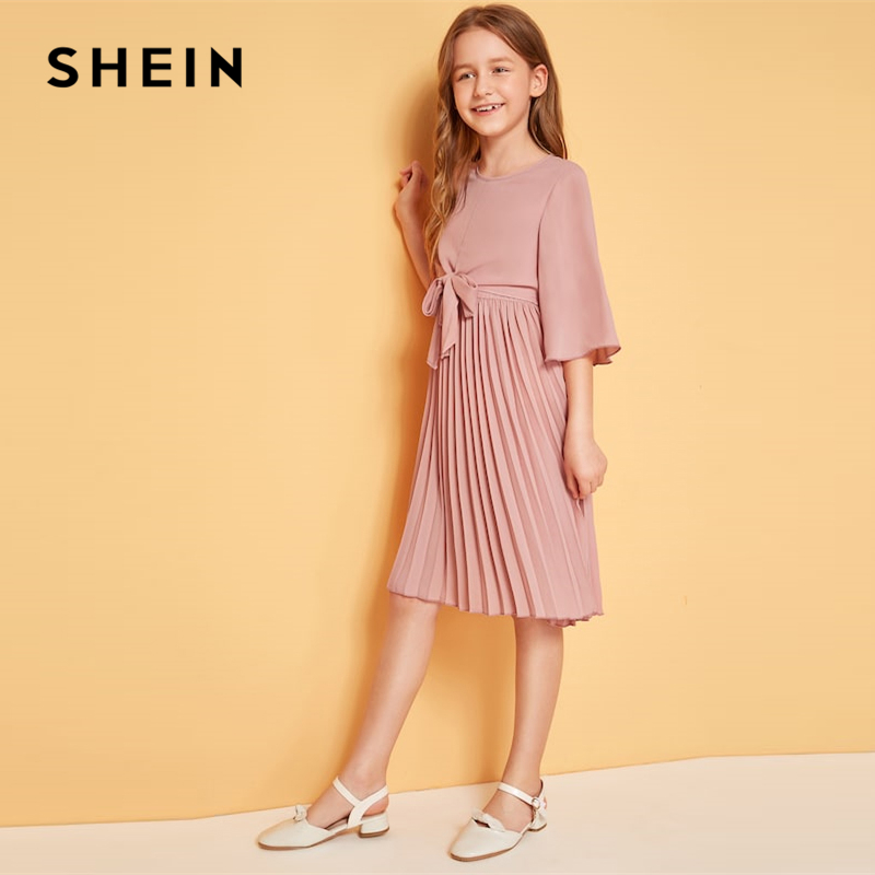 Shein Kiddie Solid Tie Front Pleated Girls Cute Dress Shein Young Girls Collection