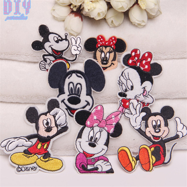 14pcs Minnie Mickey Embroidered Sew Iron On Patches Cartoon Cloth Applique Badge Fabric Apparel Sewing Crafts DIY