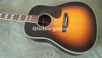 Glisten sunburst solid acoustic electric guitar with fishman pickup