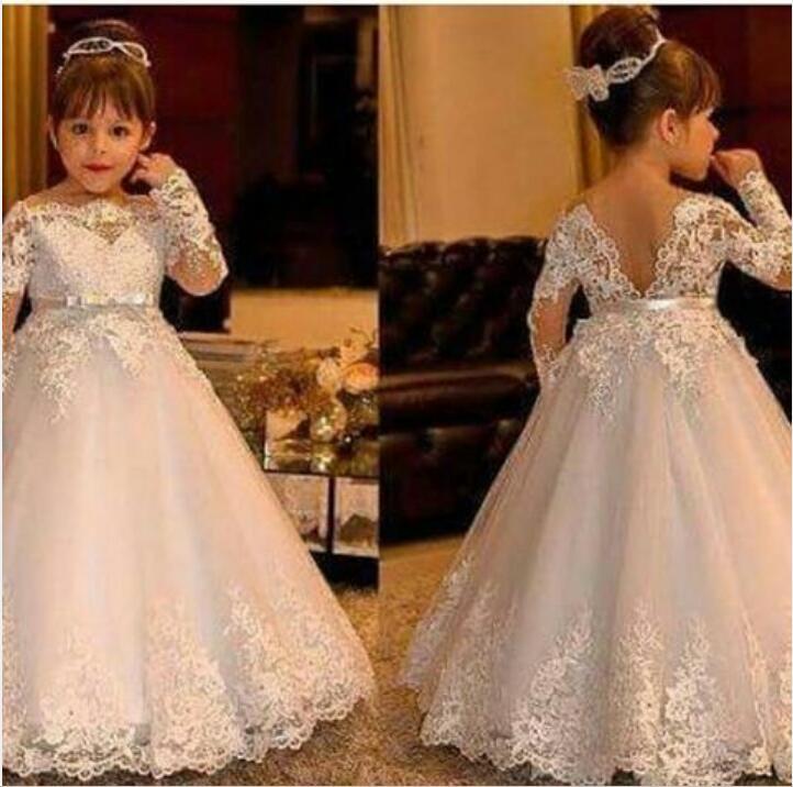 Elegant A Line Long Sleeve Flower Girl Dresses 2019 Custom Made Applique Lace Floor Length Girl's Pageant Dress