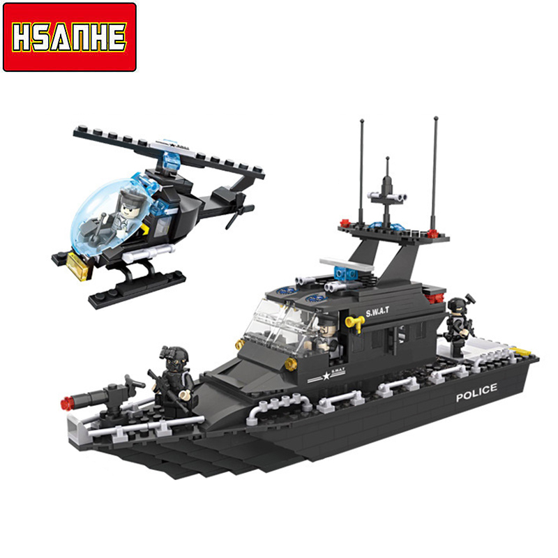 HSANHE Building Block Brick SWAT Escort Boat Helicopter DIY Model Compatible With City Boy Toy Christmas Gift Toys For Kid tcmt motorcycle black two up luggage rack w led light for harley sportster xl dyna super glide street bob softail classic flstc