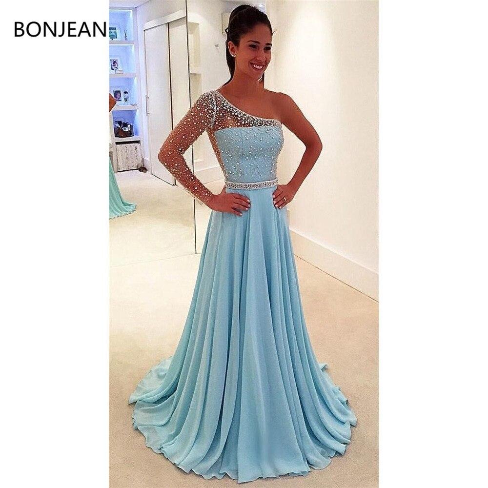 2019 Fashion Elegant Blue One Shoulder Detachable Evening Dresses Cheap Prom Dresses Beaded Dresses Evening Formal Dress