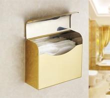 golden finish toilet paper holder waterproof steel paper towel roll holder bathroom tissue box