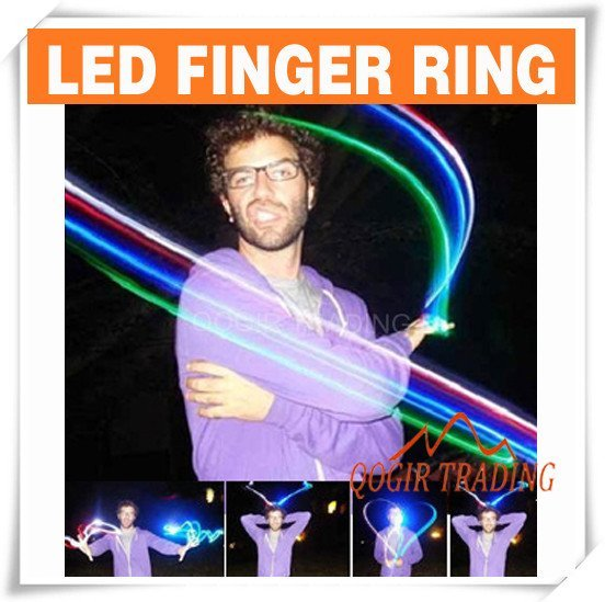 4x Color LED Bright Finger Ring Lights Glow Party Torch 6112