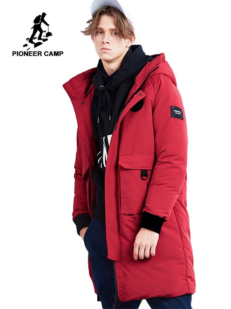Camp pionnier nouvelle hiver long down vestes hommes marque vêtements mode imprimé vers le bas parkas chaud épais 80% gris duvet de canard AYR801479
