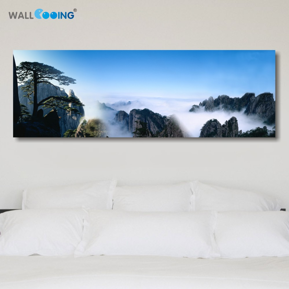 Free Shipping canvas printed chinese landscape paintings for sale decorative modern table wall pictures for living room unframed