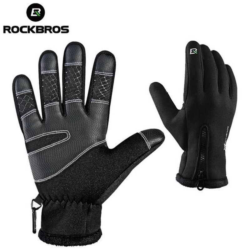 ROCKBROS Man Women Winter Anti shock Cycling font b Gloves b font Thermal Windproof Warm Fleece