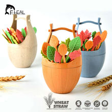 FHEAL 16pc Biodegradable Natural Wheat Straw Leaves Fruit Fork Set Party Cake Salad Vegetable Forks Interest Practical Tableware