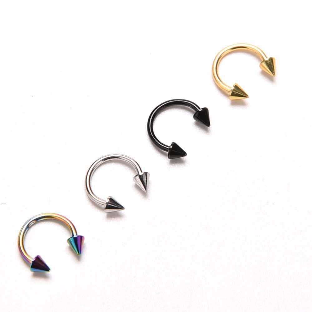 1 pieza de acero inoxidable nariz anillo Circular ceja Piercing bola herradura anillos forma redonda afilada anillo hélice pendiente