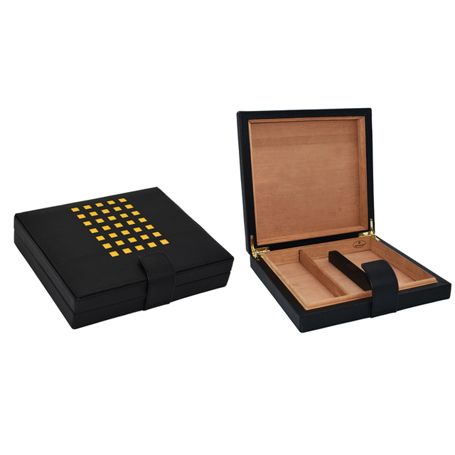 Leather Cedar Wood Cigar Box Mini Humidor Portable Cigar