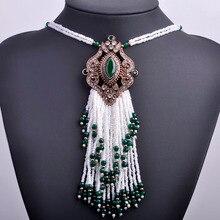 Turco Real Blanco Cuentas Borla Bohemia Collar Largo Grande Colgante de Collar Chapado En Oro de La Vendimia Collar de la Declaración Para Las Mujeres