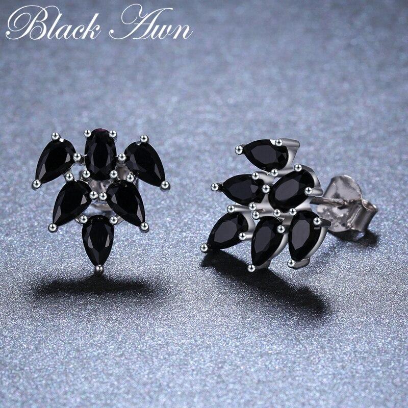Awn 2019 Nova Bonito 925 Sterling Silver Black Spinel preto Na Moda Brincos para As Mulheres de Noivado Fine Jewelry Presente Bijoux I053