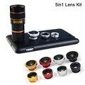 Lentes de câmera Telescópio Zoom 8X Lente olho de Peixe Grande Angular Lente Macro Para samsung galaxy note 3 4 5 iphone 6 6 s 7 casos de telefone celular