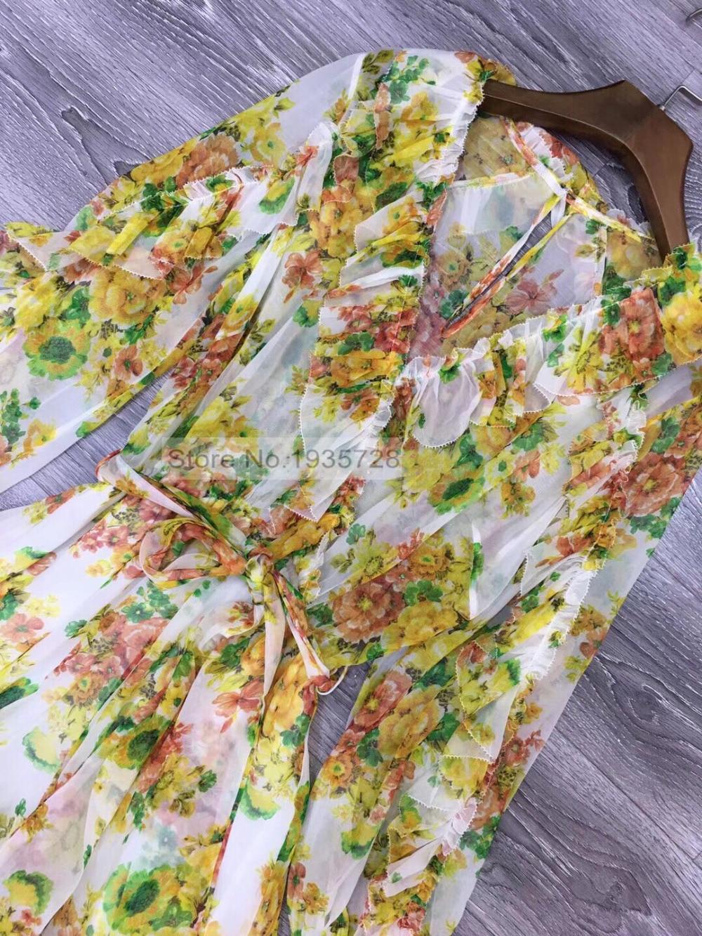 Ceinture Soie dames Femmes De Luxe Cravate Imprimé 2018 En Mini Combinaisons Print Golden Floral Pic Ruffle Taille Avec V As Élégant Col CombinaisonsBarboteuses tQdshr