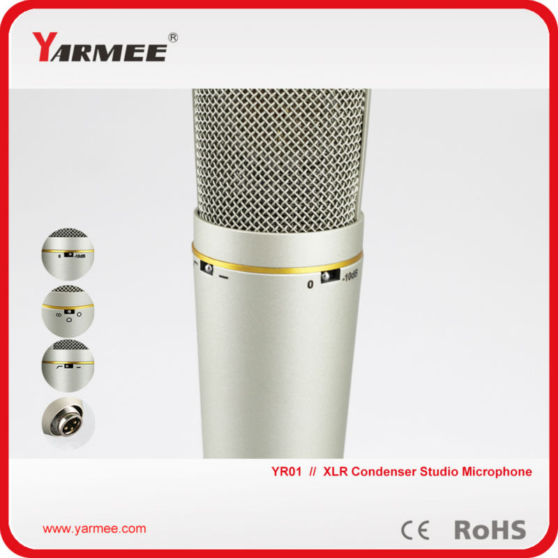 Microphone Professional Studio Microphone YR01 Wired Microphone Sound Recording Condenser Karaoke Mic Stand Holder best quality yarmee multi functional condenser studio recording microphone xlr mic yr01