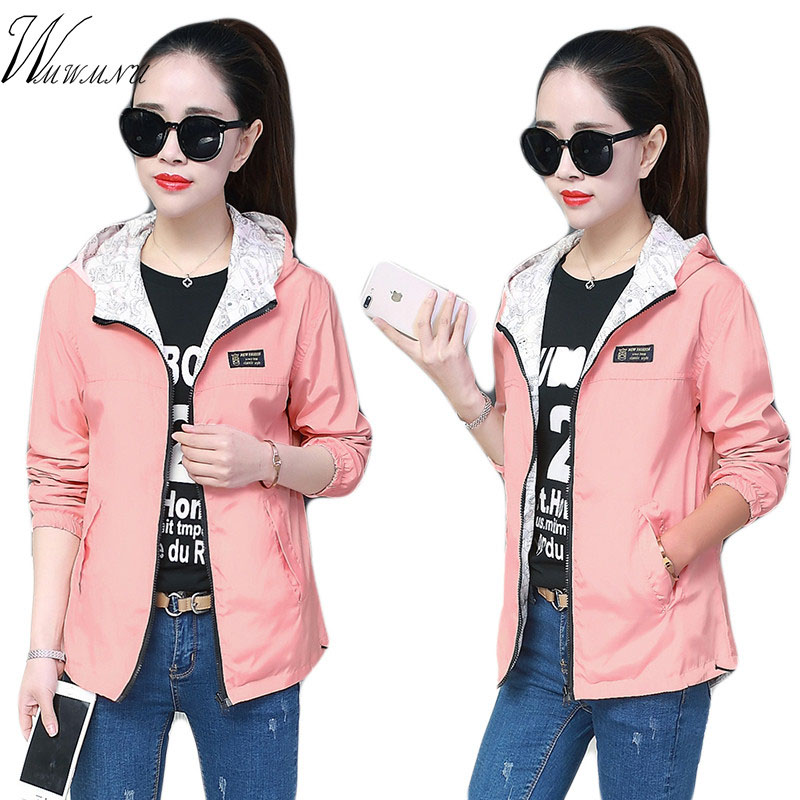 Mom's Plus Size Hooded Women Windbreak Printed   jacket   Big Size Loose Top   Basic   Coat For Ladies Both Sides Can Wear Outwear Coats