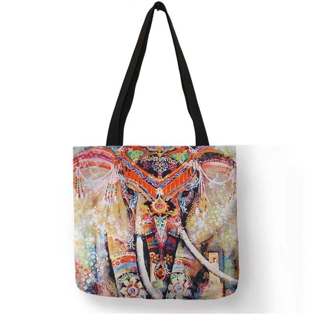 Linen For Customized Bag Mandala Tote Fashion Women Elephant Print l1cFTKJ3