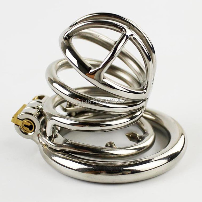 NEW Stainless Steel Male Chastity Device Penis Lock Anti-Erection Cock Cage With Double Ring Sex Toys For Men durex pleasure ring firmer erection silicone penis cock ring silicone underwear sex toys for men cockring penis sleeve extender