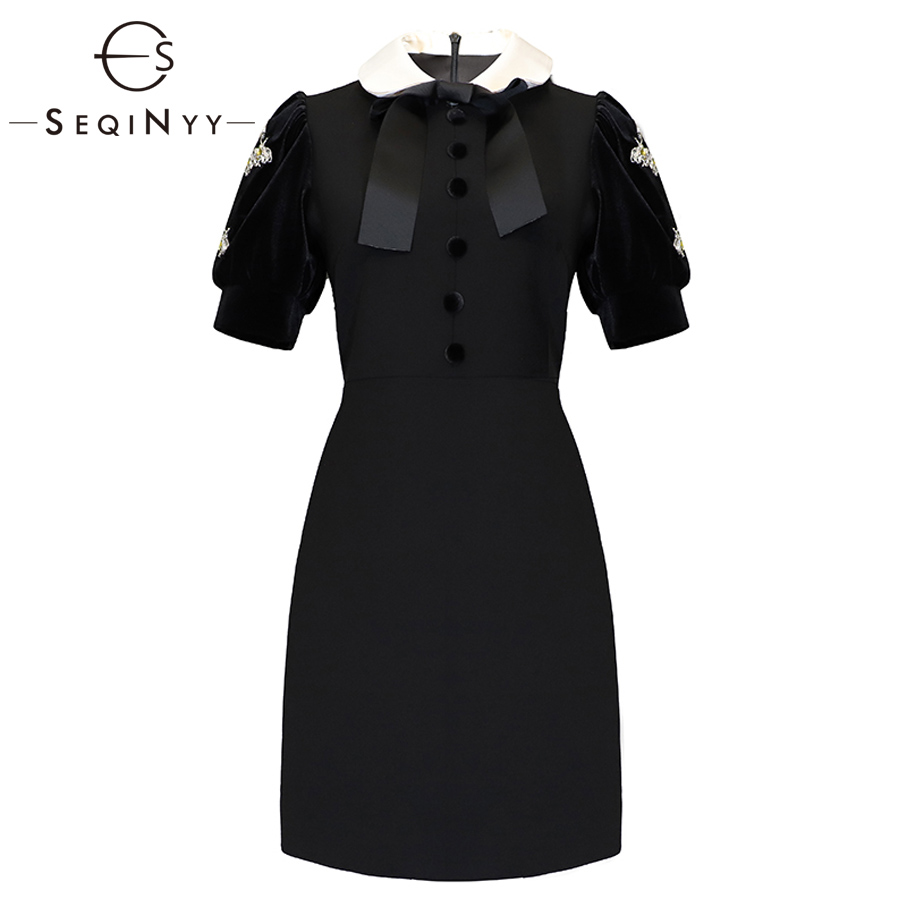 SEQINYY Solid Dresses 2019 Early Spring Woman s New Short Sleeve Fashion Office Lady Button Crystal