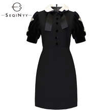 SEQINYY Solid Dresses 2019 Early Spring Womans New Short Sleeve Fashion Office Lady Button Crystal Diamonds A-Line Mini