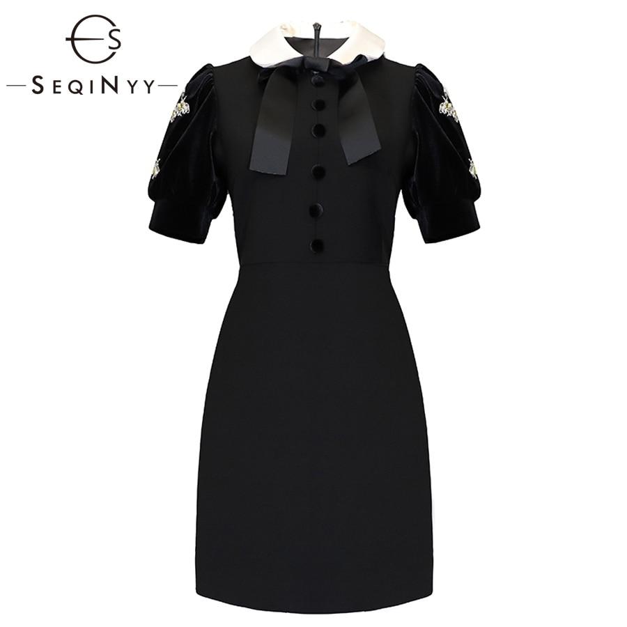 SEQINYY stałe sukienki 2019 wczesna wiosna kobiety nowy krótki rękaw moda urząd Lady przycisk kryształowe diamenty Mini sukienki w Suknie od Odzież damska na  Grupa 1