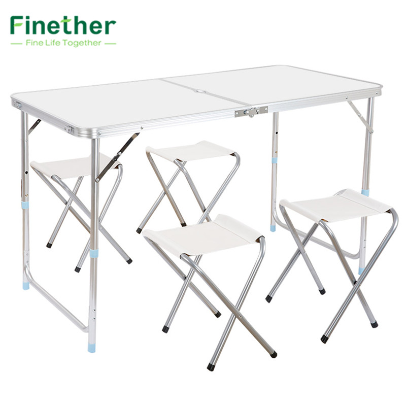 Finether Portable Adjustable Outdoor Table Ultralight Height-Aluminum Folding Table Stool Set for Dining Picnic Camping BBQ недорого