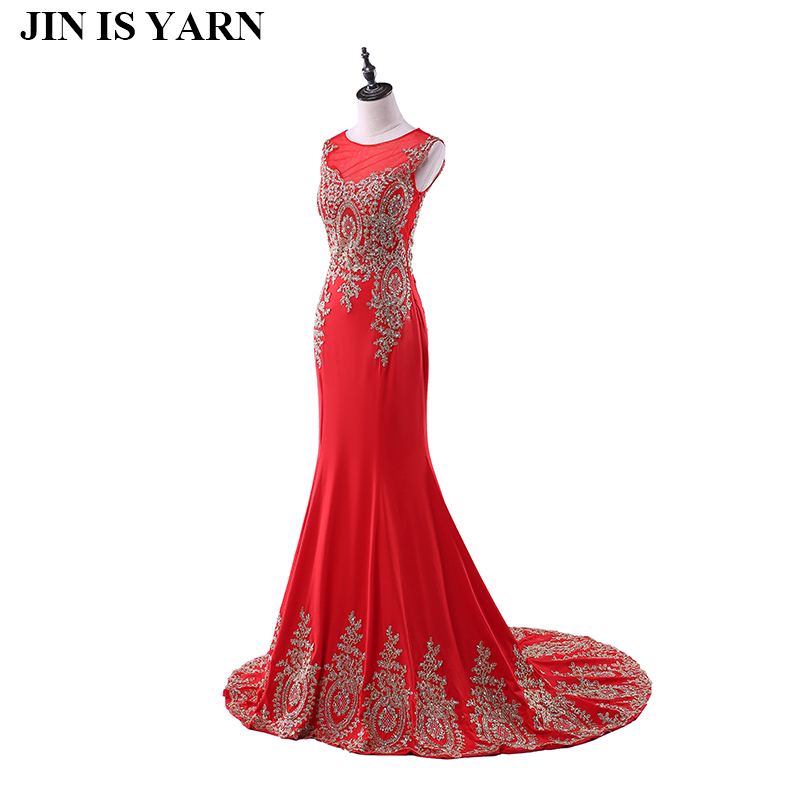 Free Shipping Long Lace Evening Dresses Red Mermaid Dresses Semi