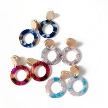 Круглые модные милые элегантные серьги Клипсы из смолы 4 цветов