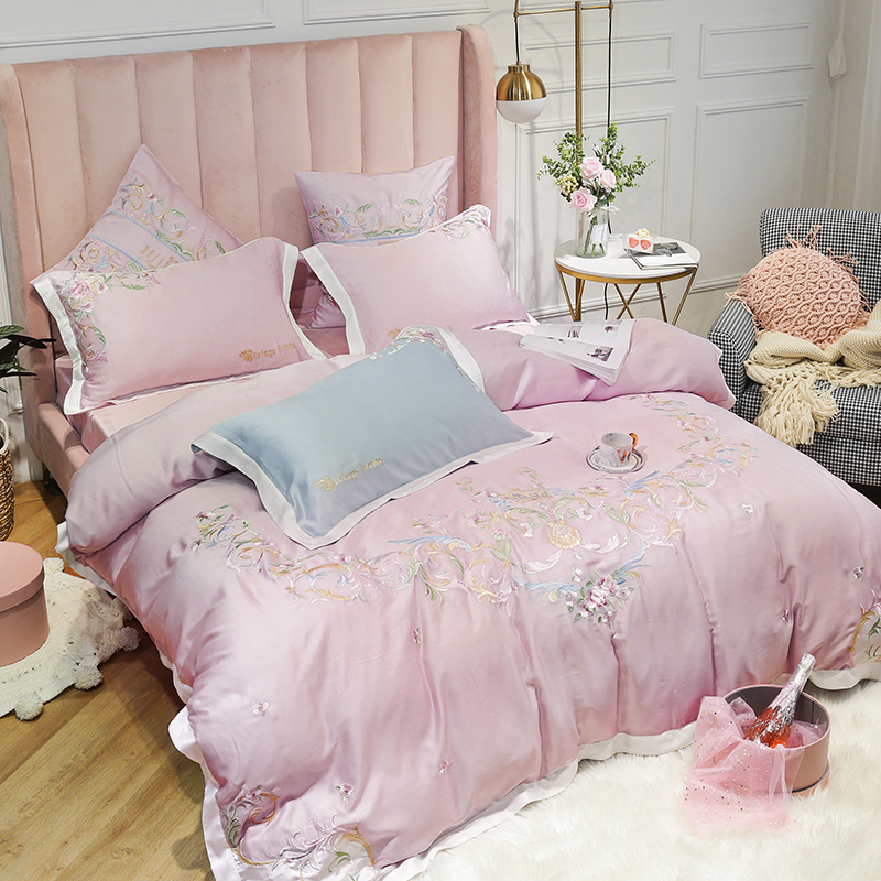 Pink Light blue Luxury Flowers Embroidery Soft Tencel Silk Princess Girl Bedding Set Duvet Cover Bed Sheet Bed Linen Pillowcases in Bedding Sets from Home Garden