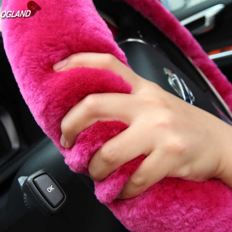 OGLAND Authentic Fuzzy Wool Sheepskin car Steering Wheel Cover for Girls Women and Men,Protector for Universal Steering Wheel 35CM-42CM Soft Texture Beige Anti-Slip,Comforting and Luxurious