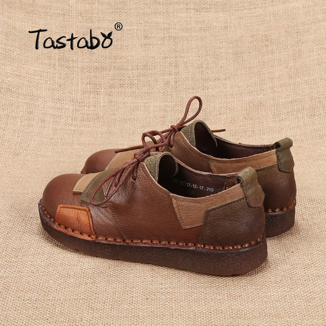 Tastabo Genuine Leather Flat Shoe Pregnant Women Shoe Mother Driving Shoe Female Moccasins Women Flats Hand-Sewing Shoes 5