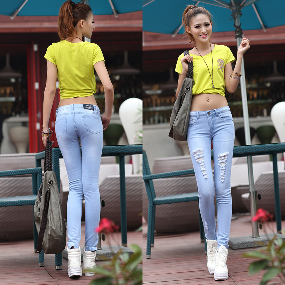 stretch denim trousers hole sexy woman personality korean fashion