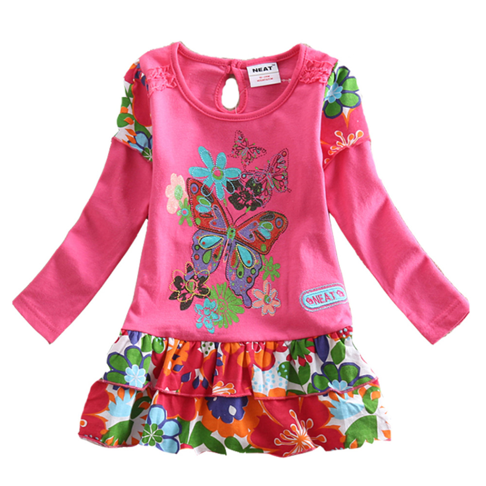 Retail NEAT Kid Dress 2017 Print Baby Girl Roupa Infantil Princess Lace Tutu Dresses Children Clothes Wear Party Mix SQ902 dania moda свитшот дания мода a3658 1015 серый б р серый