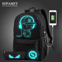 Multifunction USB Charging Men Luminous Anti Thief Laptop Backpacks For Teenager Fashion Male Mochila Leisure Travel