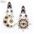 New Hot sale 2017 stud earrings star and moon pendant fashion earring jewelry wholesale