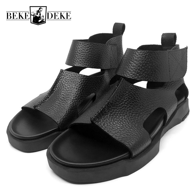 Brand 2018 Summer Real Leather Thick Platform Hook & Loop Sandals Men Korean Style High Top Open-toed Water Slides Mans Footwear 2016 summer new korean high heeled open toed waterproof thick with muffin platform sandals rome female shoes 14cm