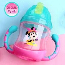 2017 Disney Brand Water Bottle For Practice With Handles For Child BPA Free Leak Proof Kid Bottle 210ml Baby Bottle Blue Mickey