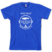 Amity Island SurfER School - Mens T-Shirt - 10 Colours - Jaws 2 3 4 - Present T Shirt Cotton Men Short Sleeve Tee Shirts(China)