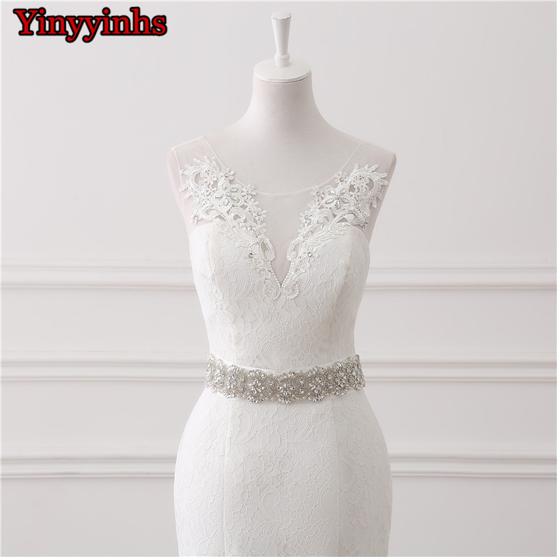 In Stock Real Photos Wedding Gown White Lace Cheap Mermaid Wedding Dress 2018 Vestido De Noiva SweepTrain Bridal Gowns GHS01 4