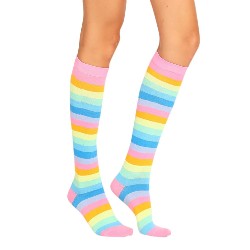 Leg Warmers Women Stocking Womens Long Socks Rainbow Stockings Striped Korean Style Women Thick Knee Socks Chaussettes Femme