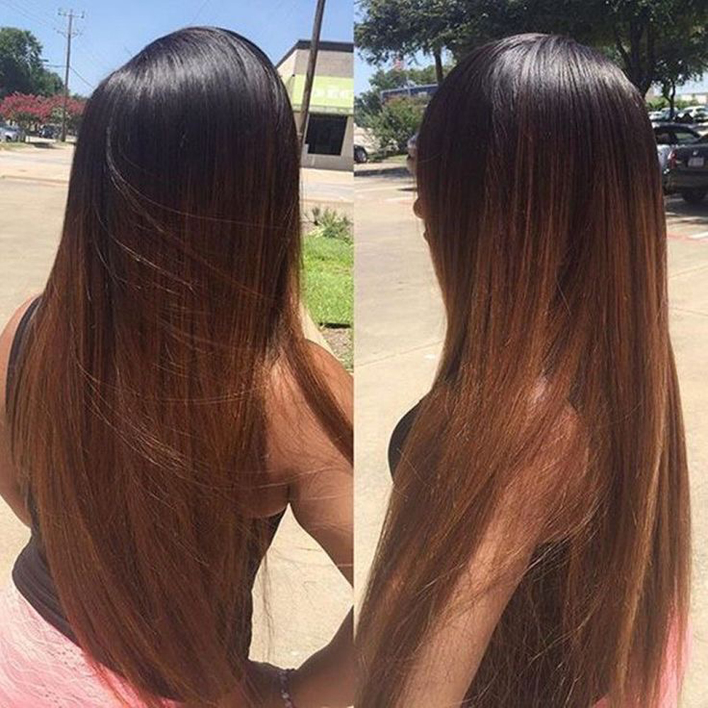 Eversilky Ombre Lace Front Human Hair Wigs With Baby Hair Brazilian Remy Hair Ombre Straight Wig