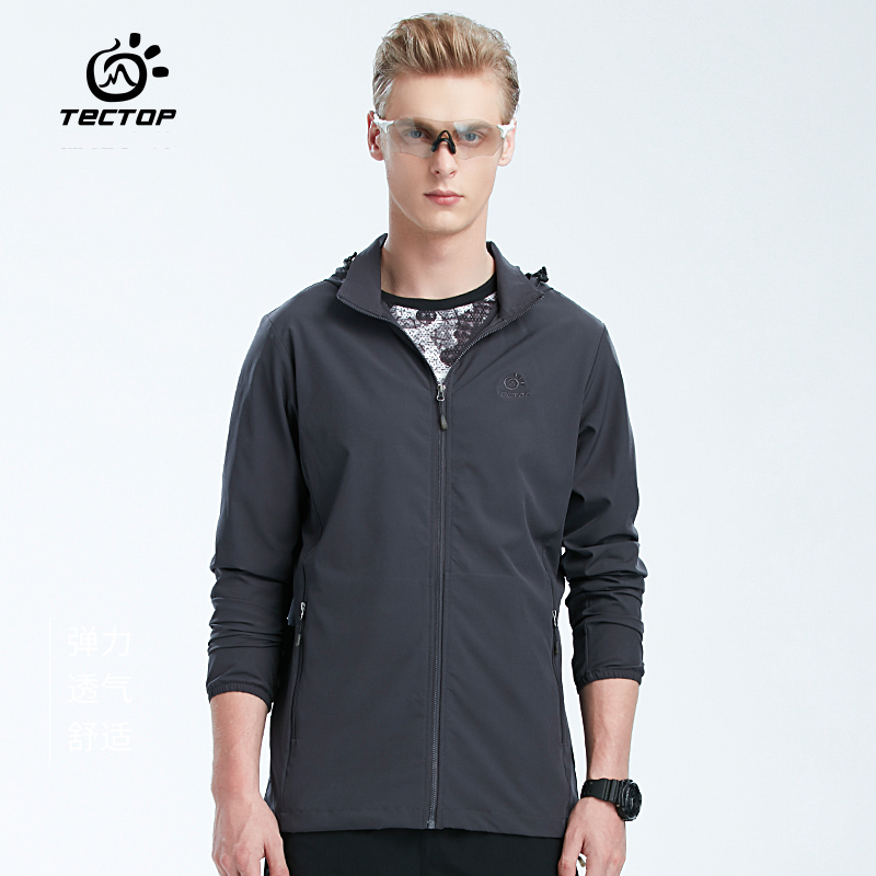 TECTOP Spring Summer Men Sun-protective Breathable Thin Jackets Male Outdoor Sports Windproof Hiking Fishing Elastic Coats S-3XL
