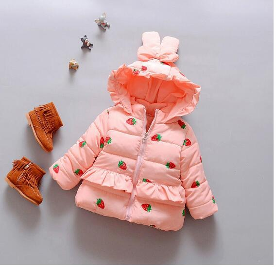 Kids Baby Girls Winter Coats 2017 Hooded Long Sleeve Stawberry WindProof Infant Fashion Warm Down Coat Outwear Baby Clothes