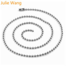 Julie Wang 10pcs 1.6mm/2mm Stainless Steel Necklace Pendant Beads Chain For Women Men DIY Jewelry Making Handmade Crafts Finding(China)