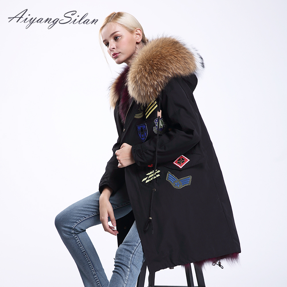 AiyangSilan Fox Fur Liner Parkas Natural Color Warm Real Raccoon Fur Collar Real Hooded Women Fur Coat Winter Parka Femme 2017 winter new clothes to overcome the coat of women in the long reed rabbit hair fur fur coat fox raccoon fur collar