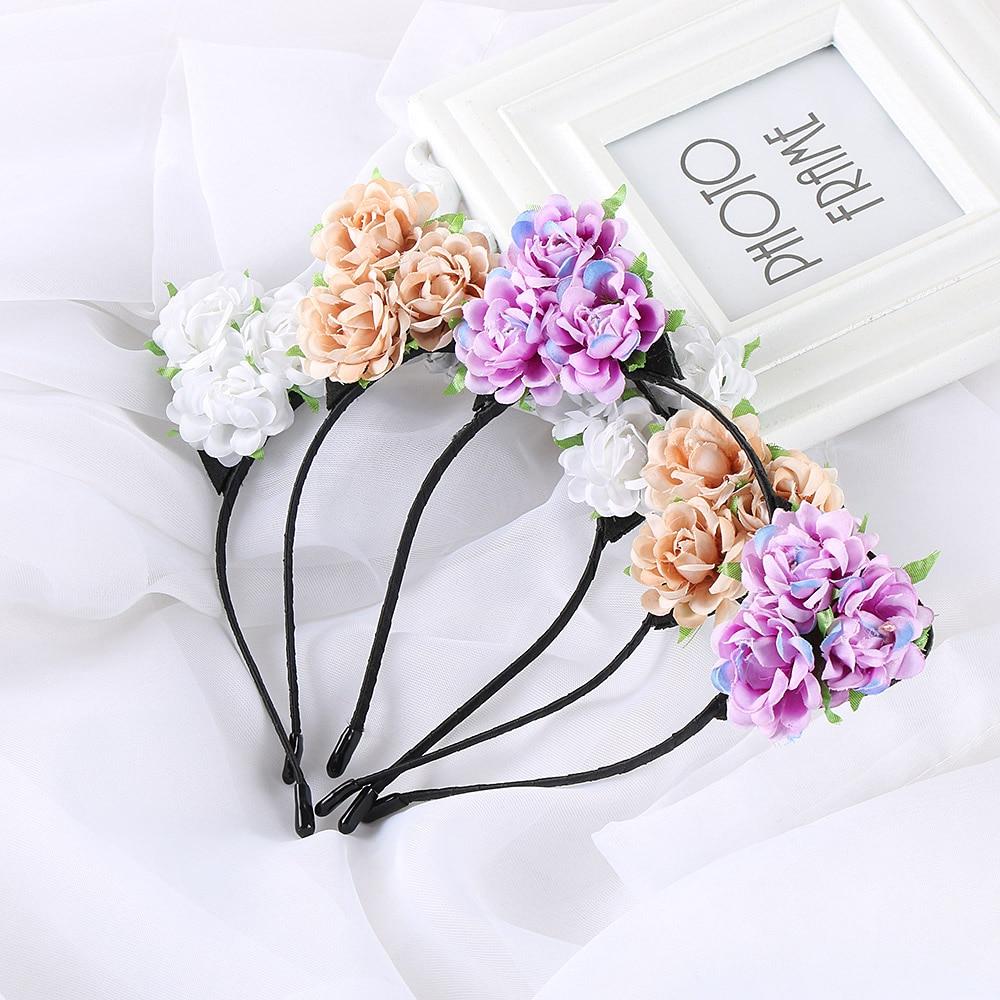 1PC Fashion Women Girls Hair Hoop Headband Girls Rose Flowers Cute Cat Ear Hairband Party Headwear Hair Band Accessories