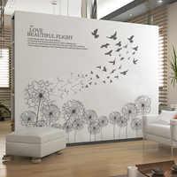 Gray Color Flying birds Dandelion wall stickers Vinyl DIY wall decals for Living room Bedroom Children's room Decoration murals
