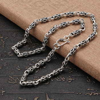 925 sterling silver jewellery vintage Chinese style men's personality fashion necklace 6mm wide Chain length can be customized