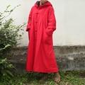Урожай Китайский Зимнее Пальто Slub Белье Женщины С Капюшоном Длинные Пальто Хлопок Одеяло Плащ С Длинным Рукавом Халат Манто Femme Abrigos